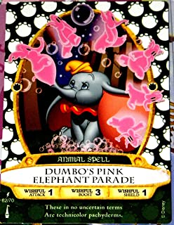 Disney Sorcerers Mask of the Magic Kingdom Sotmk Game Wdw Walt Disney World Exclusive Game Lightening Card # 62 Dumbo's Pink Elephant Parade Rare Animal Spell Map & Mickey Stickers