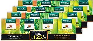 TE-A-ME Green Tea Sampler of Kashmiri Kahwa Green Tea, Tulsi Green Tea, Green Tea, Honey Lemon Green Tea, Pack of 4 Boxes ...