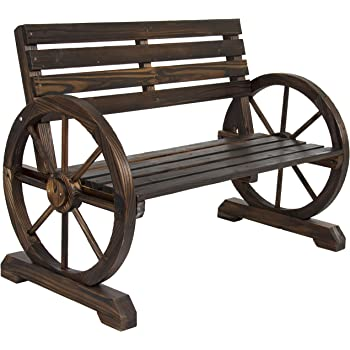 Best Choice Products Rustic 2-Person Wooden Wagon Wheel Bench w/Slatted Seat and Backrest, Brown