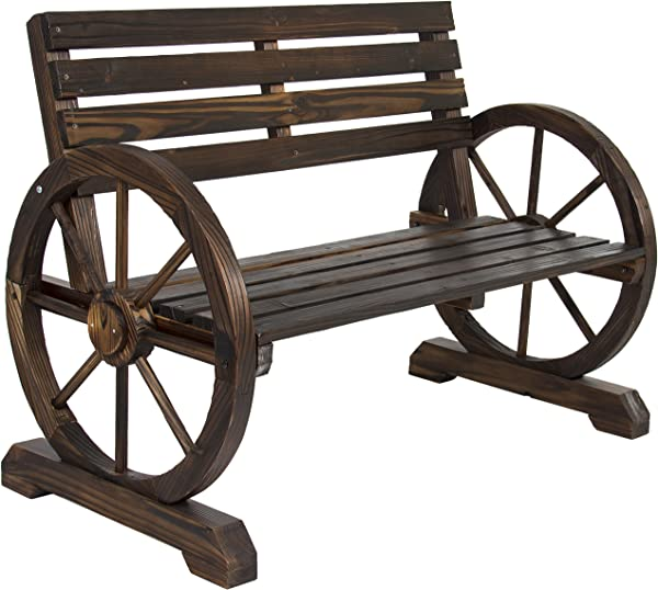 Best Choice Products Rustic 2 Person Wooden Wagon Wheel Bench With Slatted Seat And Backrest Brown