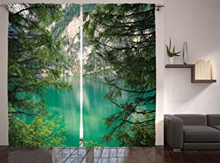 Ambesonne Lakehouse Decor Collection, Mountain Lake Lago di Braies Italy and Skirts of the Mountain View High Pine Trees Picture, Living Room Bedroom Curtain 2 Panels Set, 108 X 84 Inches, Teal Green