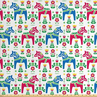 Ambesonne Horses Fabric by The Yard, Classic Swedish Dalecarlian Coral Azure Blue Animals and Green Floral Arrangement, Decorative Fabric for Upholstery and Home Accents, 1 Yard, Pink Blue
