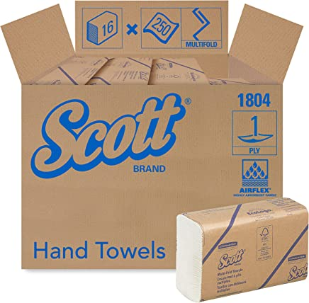 Scott Essential Multifold Paper Towels (01804) with Fast-Drying Absorbency Pockets, White, 16 Packs / Case, 250 Multifold Towels / Pack