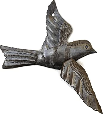 Haitian Birds Recycled Steel Drum Art 3-D Wings Set of 5 Decorative Metal Wall Hanging Art 5 x 4.5 inches