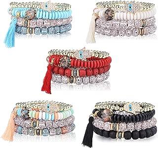 5Sets Bohemian Stretch Beaded Bracelets for Women Girls Crystal Beaded Evil Eye Charms Stretch Stackable Bracelet