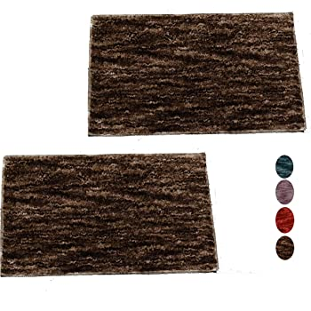 ENYRA Super Soft Heavy Microfiber Anti-Skid Door/Bath Mats - 60 cm x 40 cm, Pack of 2 (Brown)