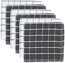 DII 100% Cotton, Machine Washable, Ultra Absorbant, Basic Everyday 12 x 12 Terry Kitchen Dish Cloths, Windowpane Design, S...