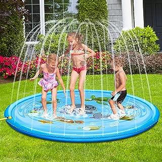 TUPARKA Upgraded Splash Pad Outdoor Sprinkler Mat Inflatable Water Toys, Summer Backyard Fun Water Toys for Children, Blue Ocean Large Splash Play Mat,68 inch/170cm