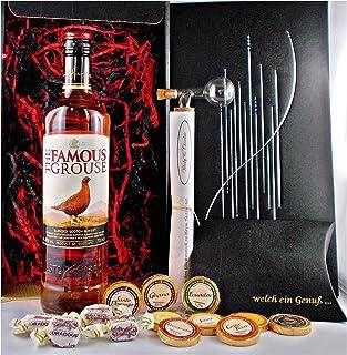 Geschenk Famous Grouse Scotch Whisky  Glaskugelportionierer  Edelschokolade  Whiskey Fudge