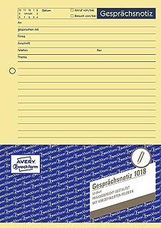 AVERY Zweckform 1018 Gesprächsnotiz (A5, Abreißblock, oben verleimt, 50 Blatt) gelb