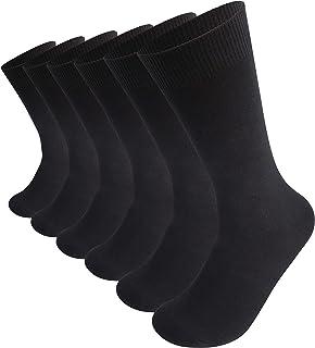 Men's Dress Socks Same Inside and Outside 6-Pairs Black Cotton Socks Classic Calf Socks Man's Gift