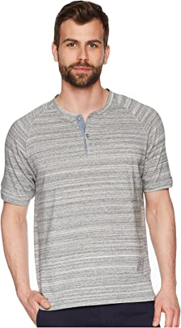 Royal Greys Combed Heather Grey Yarns with Stitch Detail Short Sleeve Raglan Henley