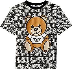 Moschino Kids - Short Sleeve All Over Logo Print Teddy Bear Graphic T-Shirt (Big Kids)