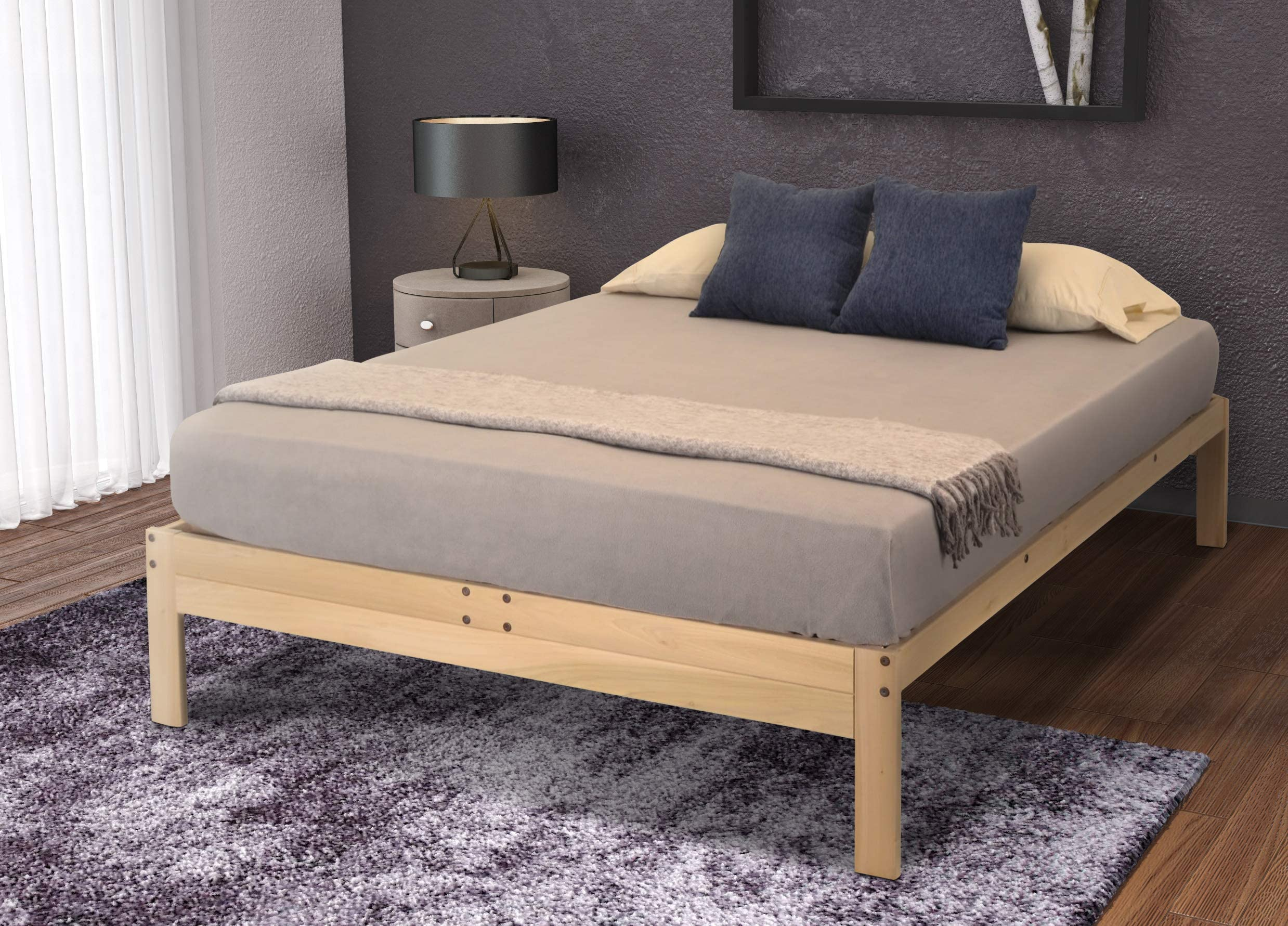 NcFnC03 Low Platform Solid Hardwood Bed with angled base frame and wide Head Board with attached tables; natural color