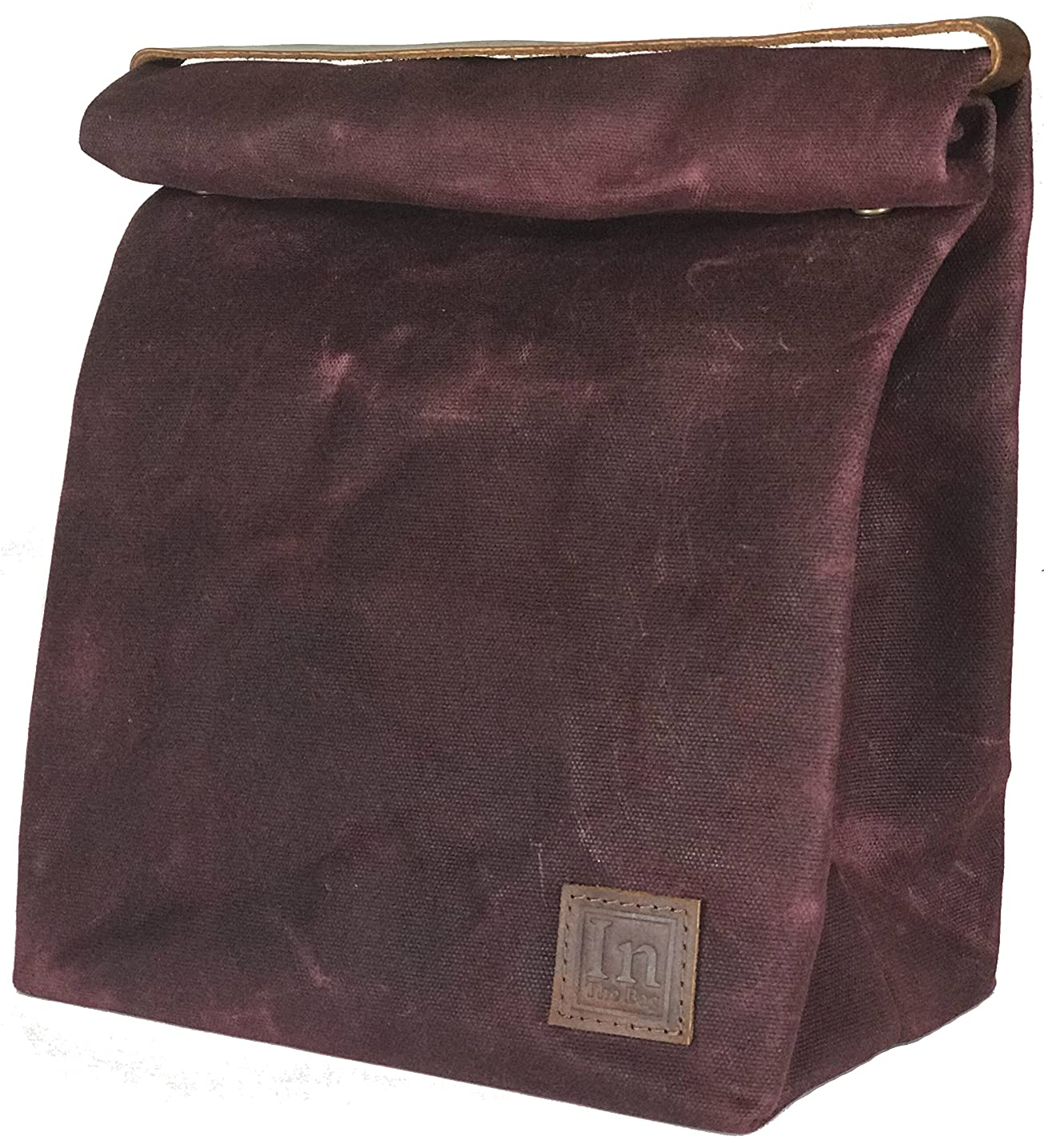 Lunch Bag (Lunch Box) Large Lined Waxed Canvas Roll Top Tote Bag with Leather Strap Carrying Handle and Brass Snap Closure - Red Wine - by In The Bag