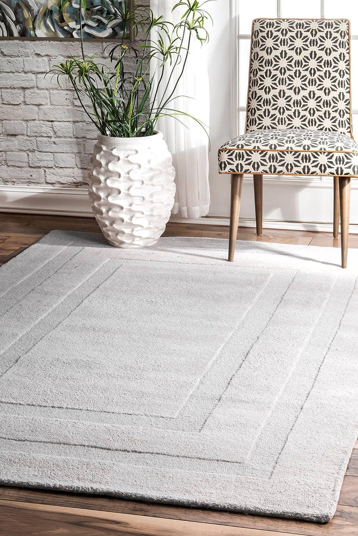 nuLOOM Zamora Handmade Border Wool Rug x 5' Light Grey Outlet SALE 8' San Antonio Mall