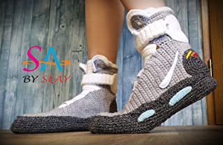 Back to the Future Knitted Slippers, Crochet Knitted Home Men's Women's Air Mag Custom Slippers, Cosplay Boots, Flying Shoes