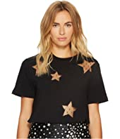 RED VALENTINO - Light Cotton Jersey & Heatsealed Point D'Esprit Stars Top