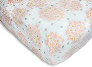 SwaddleDesigns Cotton Muslin Crib Sheet,  Heavenly Floral with Shimmer,  Pink