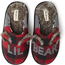 Dearfoams Kids' Lil Bear Buffalo Plaid Scuff Slipper
