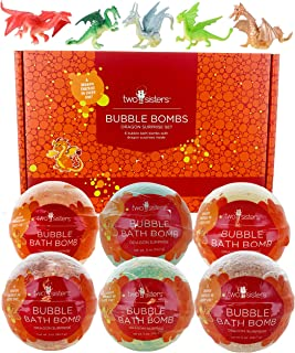 Dragon Bubble Bath Bombs for Kids with Surprise Toys Inside for Boys and Girls by Two Sisters. 6 Large 99% Natural Fizzies...