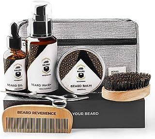 BEARD REVERENCE Premium Beard Grooming Kit for Men Care w/ Upgraded Travel Bag – All-Natural Beard Oil, Beard Balm Butter ...