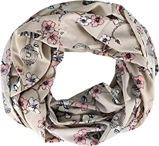 Peach Couture Sheer Bird Print Scarves For Women Infinity Scarf Circle Loops