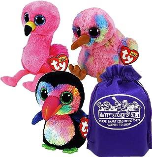 Ty Beanie Boos Tropical Birds Kiwi (Multi-Colored), Beaks (Toucan) & Gilda (Flamingo) Gift Set Bundle with Bonus Matty's Toy Stop Storage Bag - 3 Pack