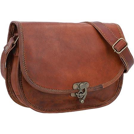 Gusti Sac à main Cuir nature Edda sac à bandoulière vintage sac pour sortir  rétro sac pour tous les jours homme femme cuir de chèvre marron K70