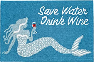 Liora Manne Front Porch Summer Mermaid Save Water Drink Wine Indoor/Outdoor Rug, 20