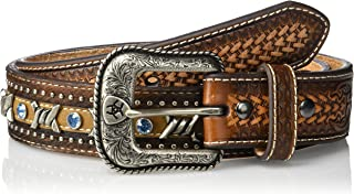 Ariat Men's Blue Crystal Barbed Center Western Belt, Brown, 32
