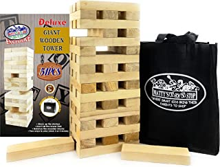 "Mɑtty's Toy Stop Deluxe 51pc Giant Wood Tower Stacking Game with Storage Bag (Starts 17"" Tall)"
