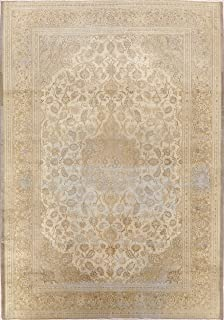 Antique Floral Kashan Persian Area Rug Hand-Knotted Muted Carpet 7x10 (6' 8'' x 9' 7'')