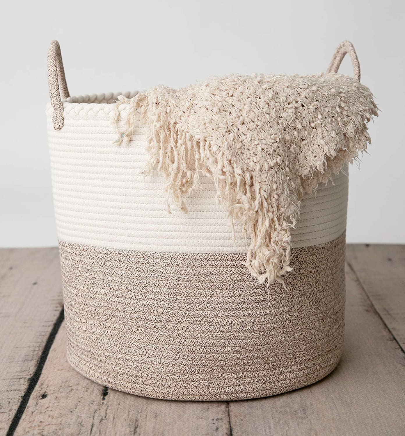 """CHLOÉ + KAI Woven Storage Basket (17.5"""" x 16"""") for Nursery, Laundry, Living Room. Pillows, Toys, Plant Pot, Blanket Basket – Coiled Large Cotton Rope Basket with Handle"""