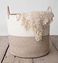 CHLOÉ + KAI Woven Storage Basket,D17.5 x H16 Large Cotton Rope Basket,Laundry and Blanket Basket,Decorative Basket for Toy...