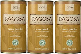 DAGOBA Organic Chocolate Cacao Powder, Fair Trade Certified Gluten-Free Organic Cacao Powder, 8 Ounce Canister (Pack of 3)