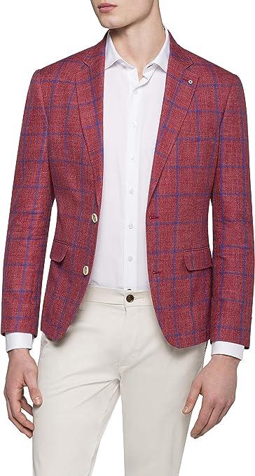 Pierre Cardin Men's Casual Blazer Red Window Chek