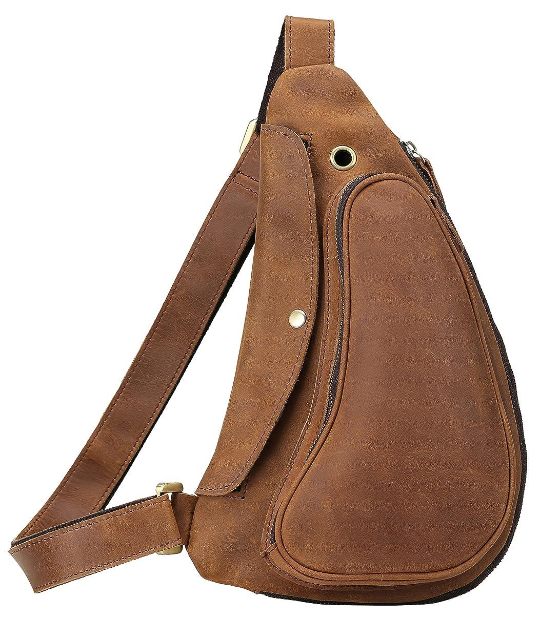 予算囲いまっすぐ[(チョウギュウ) 潮牛] 厚手牛革 本革 メンズ ボディバッグ ワンショルダーバッグ イヤホン穴付き iPadmini対応 自転車 鞄