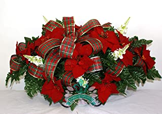 Beautiful XL Artificial Red Poinsettiae Cemetery Flower Headstone Saddle Grave Decoration