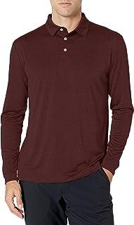 PGA TOUR Men's Standard Long Sleeve Jersey Stripe Polo Shirt