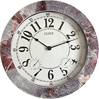 BACKYARD EXPRESSIONS PATIO · HOME · GARDEN 914933 Indoor/Outdoor Clock, Gray, Black, Red