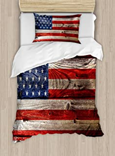 Ambesonne USA Duvet Cover Set, Fourth of July Independence Day Weathered Retro Wood Wall Looking Country Emblem, Decorative 2 Piece Bedding Set with 1 Pillow Sham, Twin Size, Blue Red