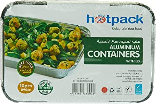 Hotpack Disposable Aluminum Containers with Lid- 890CC- 10-Pcs