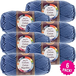 Lion Brand 98688 24/7 Cotton Yarn-6/Pk-Denim, 6/Pk, Denim 6 Pack