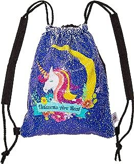 Little Jupiter Water Resistant Unicorn Reversible Sequin Drawstring Girls Drawstring Backpack Kids daypack Unicorn Bag