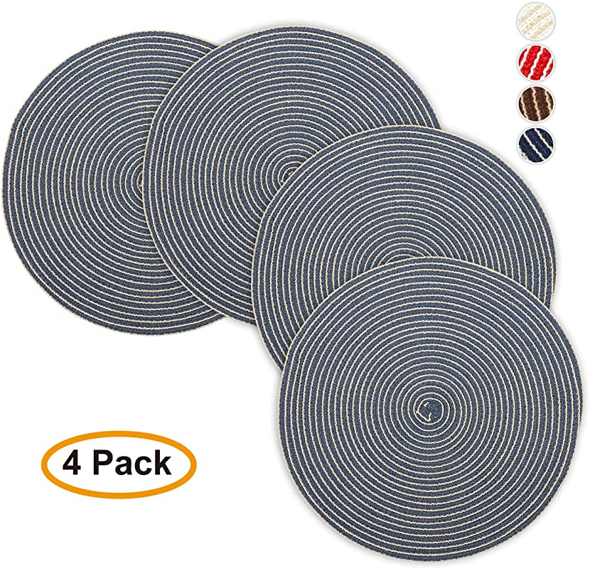 Jennice House Round Placemats 15 Inch Cotton Weave Disko Placemats Heat Insulation Stain Resistant Washable Round Table Mats For Dining Set Of 4 Navy Blue