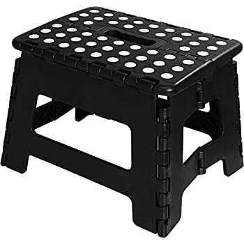 Utopia Home Foldable Step Stool for Kids - 11 Inches Wide and 9 Inches Tall - Black and White - Holds Up to 300 lbs - Lightweight Plastic Design