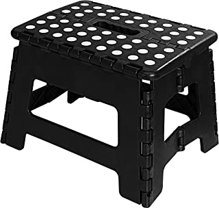 Foldable Step Stool for Kids - 11 Inches Wide and 9 Inches Tall - Black and White - Holds Up to 300 lbs - Lightweight Plastic Design