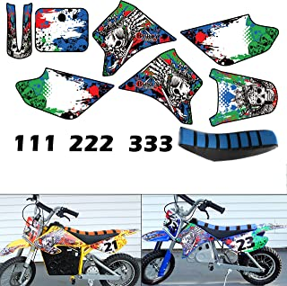 Burly Effects Graphics kit for Razor MX350 MX400 MX500 MX650 Electric Dirt Bikes (MX350 & MX400 with Blue Seat Cover)