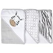 Spasilk 3 Piece Soft Terry Hooded Towel Set, Grey Zebra